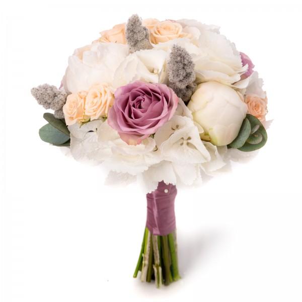 Hydrangea and mini rose wedding bouquet
