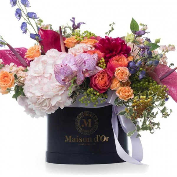 Desire Collection - Box with garnet peonies, matthiola and orchids
