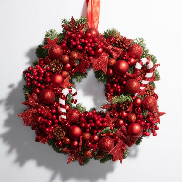Christmas wreath with globes and cones