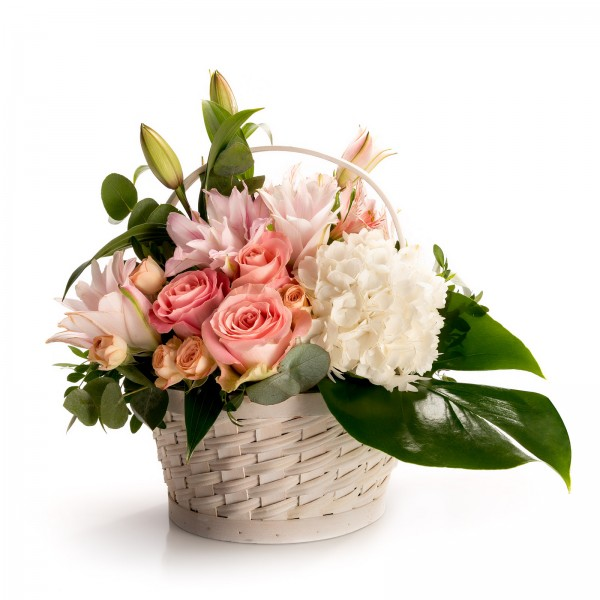 Floral arrangement in basket with white germs and mini rose