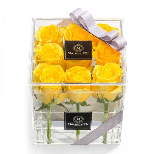 Acrylic box 9 yellow roses
