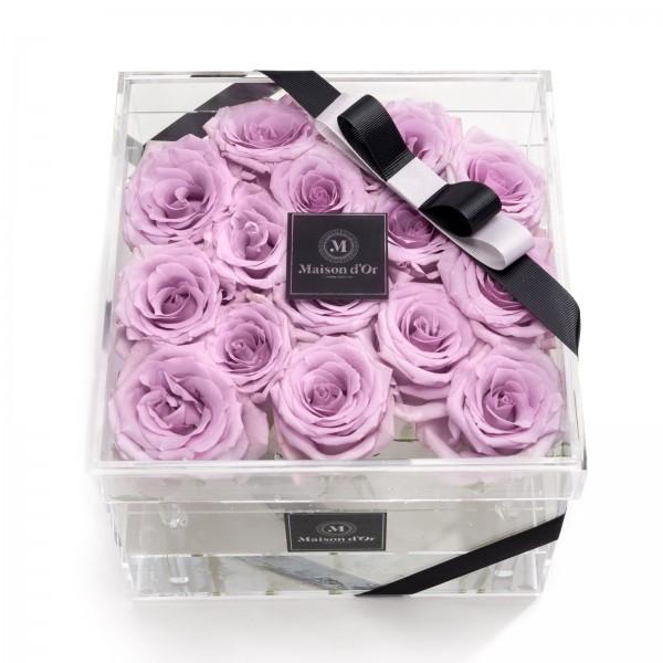Acrylic box 15 purple roses