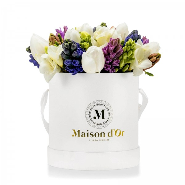 White box of hyacinths and tulips