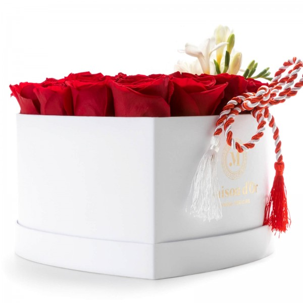 White heart box with 27 red roses and martisor freesias