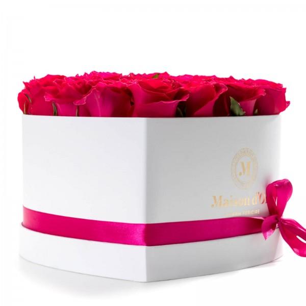 White heart box 25 cycalm roses