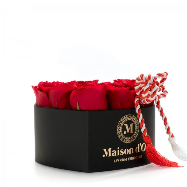 Heart box 9 red martisor roses
