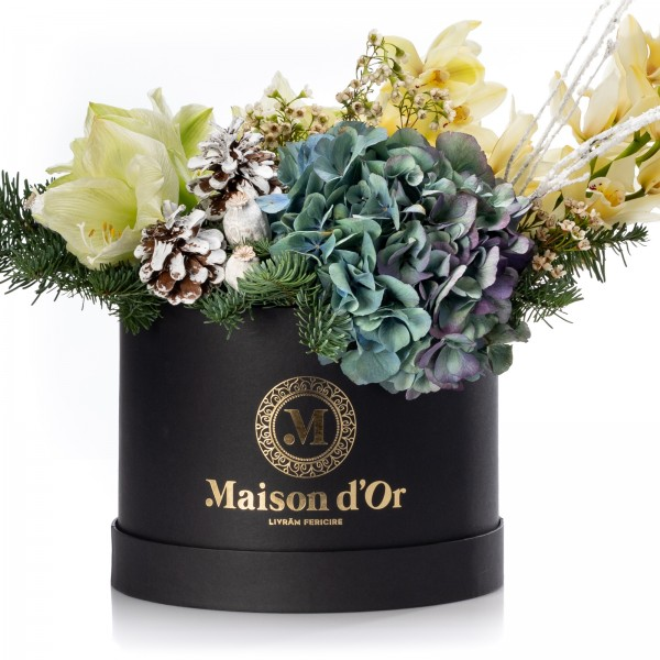 Box with white amaryllis, fir and hydrangea - Christmas Collection