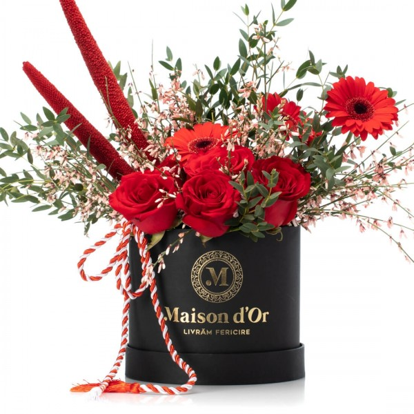 Box With Germs, Red Roses And Genista 1-8 March