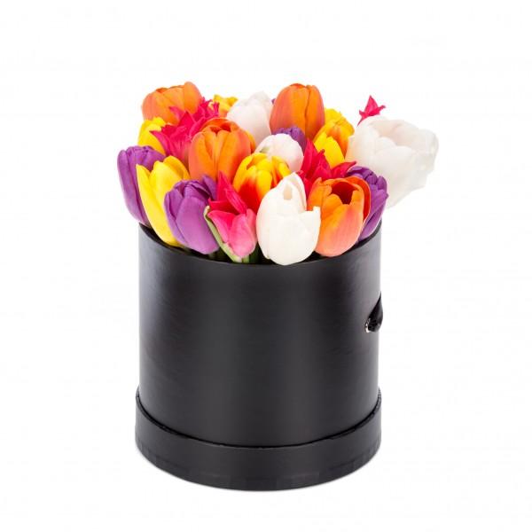 Box of 27 multicolored tulips