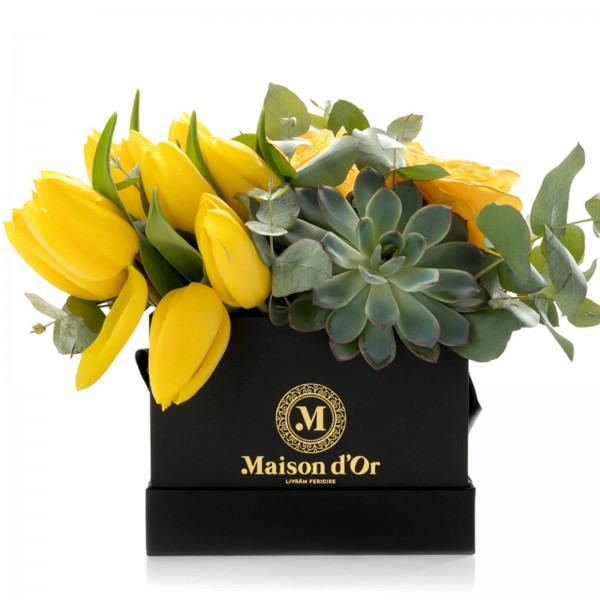 Square box with roses and yellow tulips
