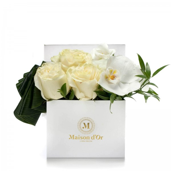 Box With Orchids And White Lisianthus