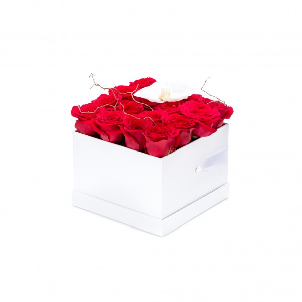 Box of red roses and white orchids