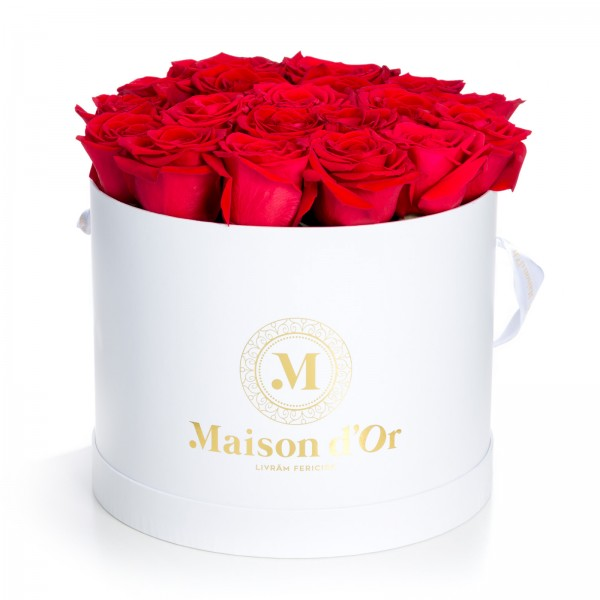 White box 21 red roses