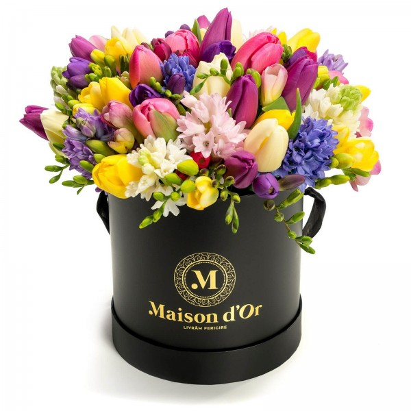 Box of tulips and hyacinths