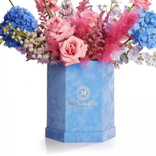 Cutie de catifea cu flori Monaco