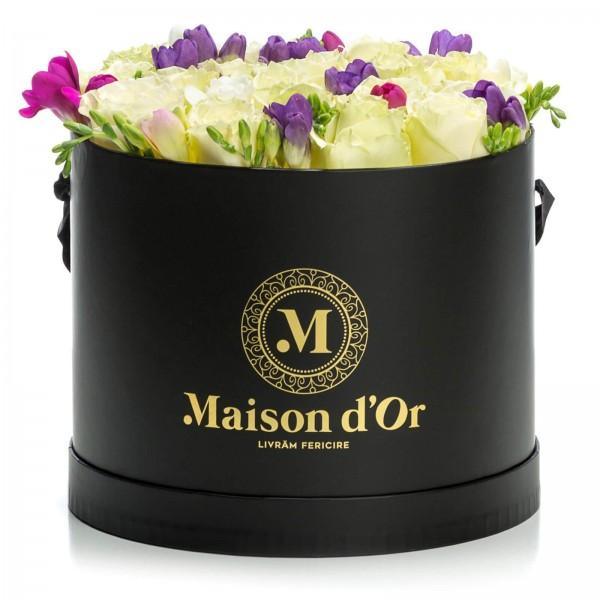 Box of white roses and freesias