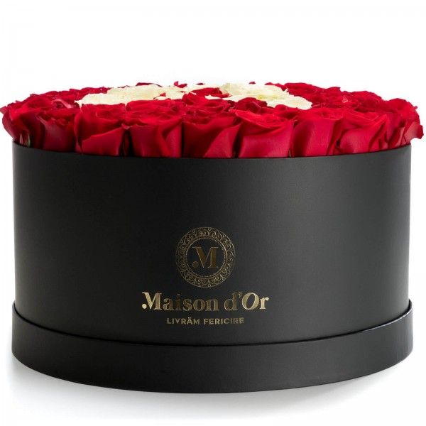 Giant box with 89 red and white roses