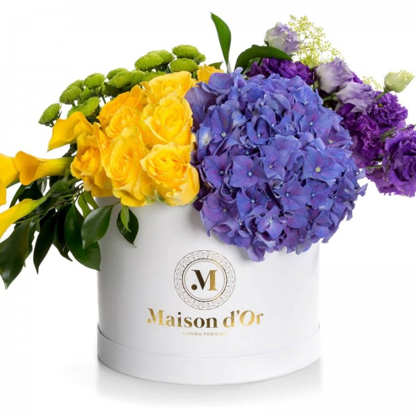 Desire collection-white round box with calla and yellow roses