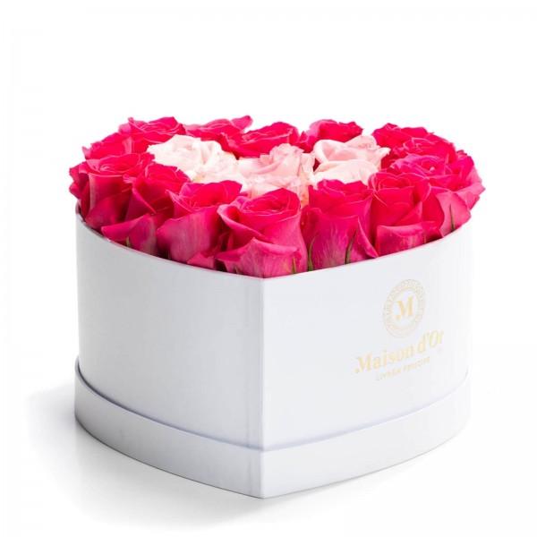 Heart box 21 pink roses