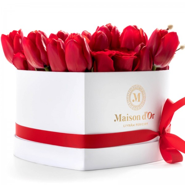 Heart box with roses and red tulips