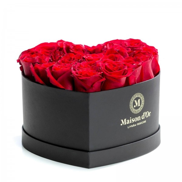 Heart box 23 red roses