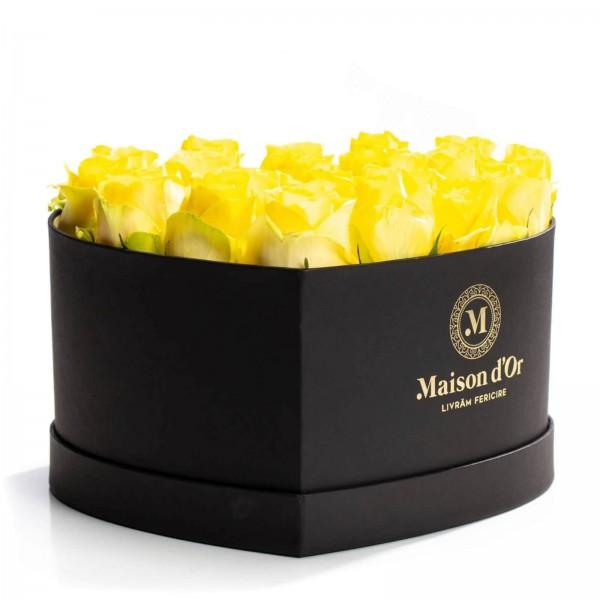 Heart box 21 yellow roses
