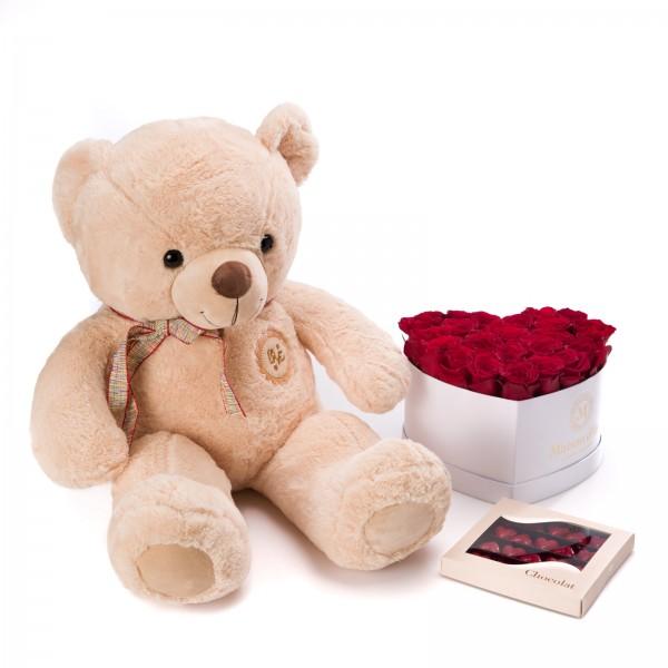 Cutie inima cu 23 trandafiri rosii, Praline Inima si ursulet - Midi Valentine's Day