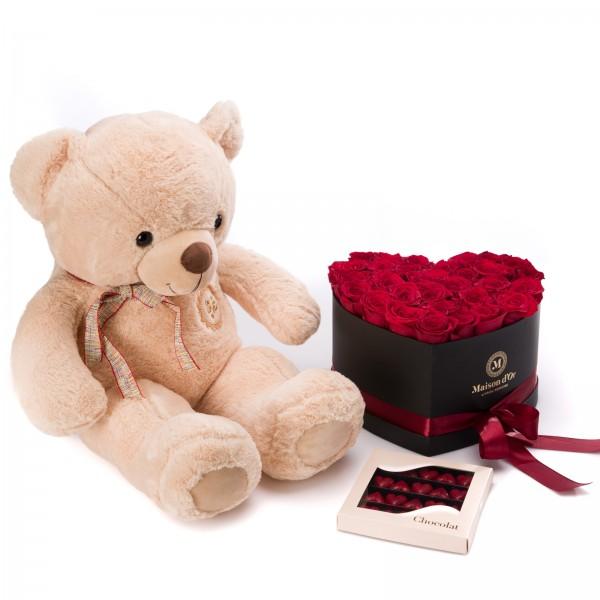 Cutie inima cu 33 trandafiri rosii, Praline Inima si ursulet - Maxi Valentine's Day