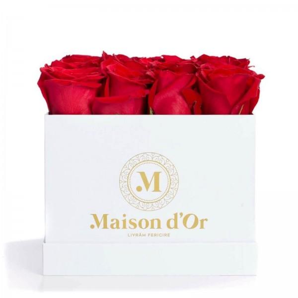 White box 17 red roses