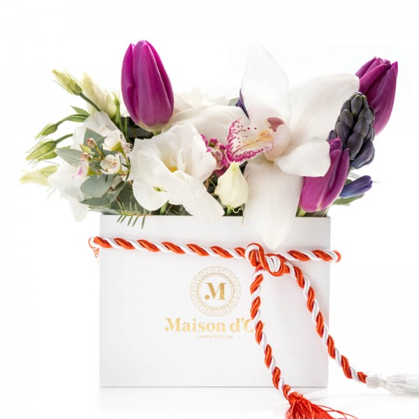 White square box of hyacinths and tulips