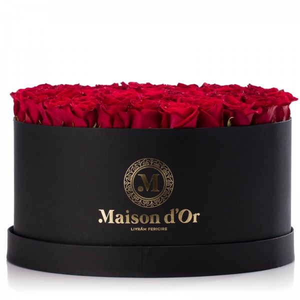 Black box with 101 red roses
