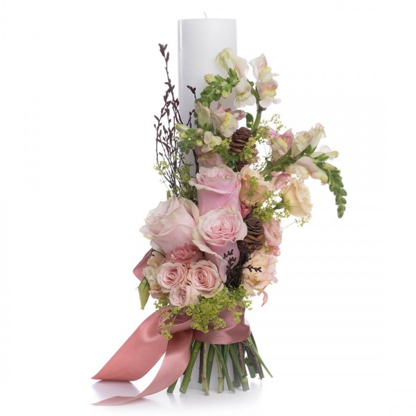 Short wedding candle Pink roses
