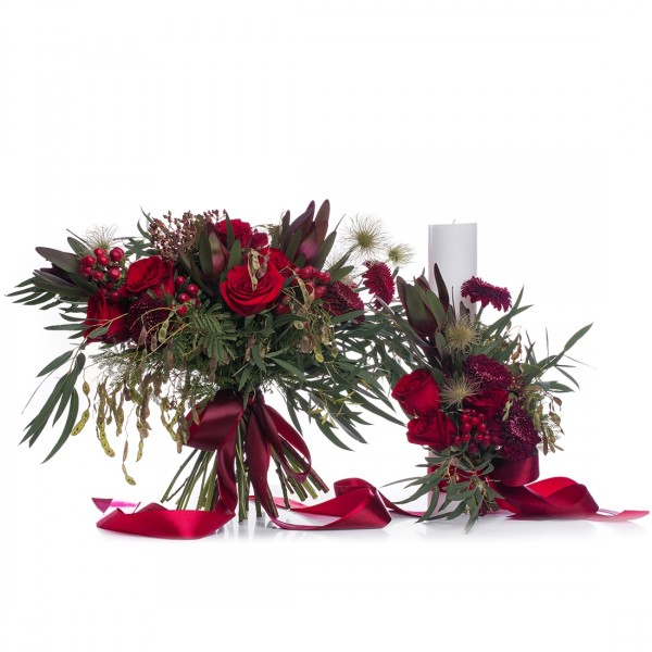 Hypericum wedding package and red roses