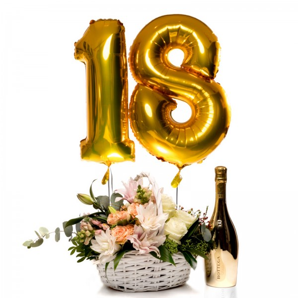 Floral Arrangement In Basket, Bottega Gold Prosecco and 2 helium balloons