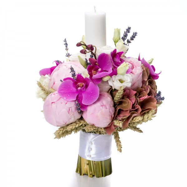 Orchid and hydrangea christening candle