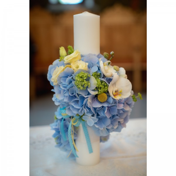 Candle christening hydrangea blue roses vuvuzela gold