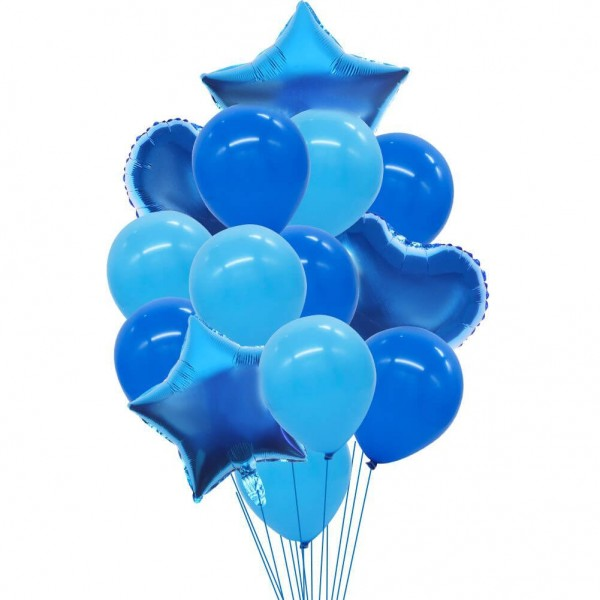 Set of blue helium balloons