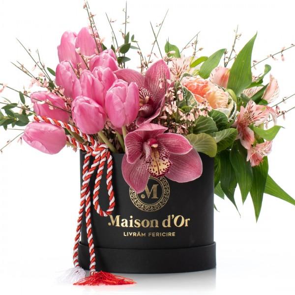 Box with cymbidium, tulips and alstroemeria 1-8 March