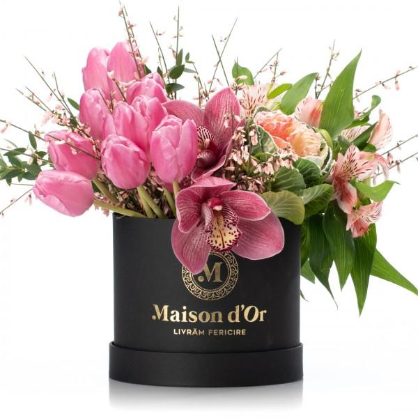 Box with cymbidium, tulips and alstroemeria