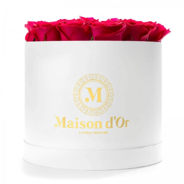 White round box with 23 cycalm roses