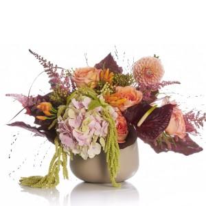 Floral arrangement with hydrangea and anthurium