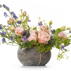 Floral arrangement with mini rose and clematis