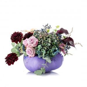 Purple halloween floral arrangement