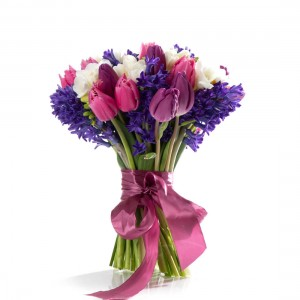 Bouquet with hyacinths, freesias and multicolored tulips