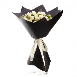 Flowers bouquet with white peonies