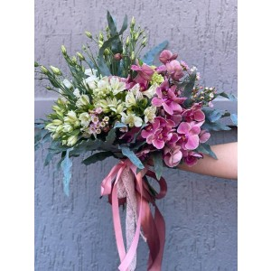 Bouquet Of Flowers With Phalaenopsis And Alstroemeria