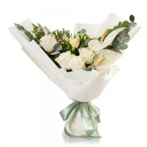 Flowers bouquet with roses and white anthurium