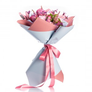 Flowers Bouquet of Peonies and Clematis Mauve Charm