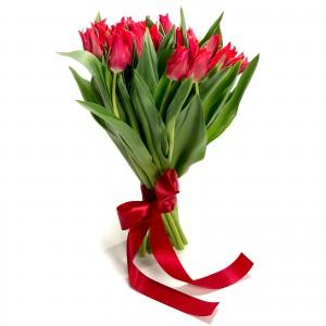 Buchet de flori 25 lalele rosii