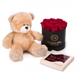Box of 9 red roses, Praline Heart, and teddy bear - Mini Valentine's Day
